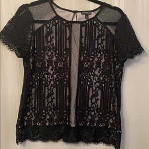Express black nude lace top size M